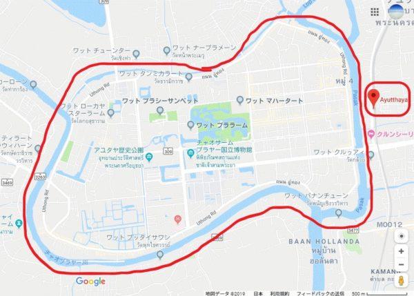 【アユタヤマップ】駅と中心部
