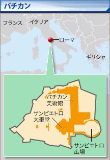 ローマの中にあるバチカン市国マップ