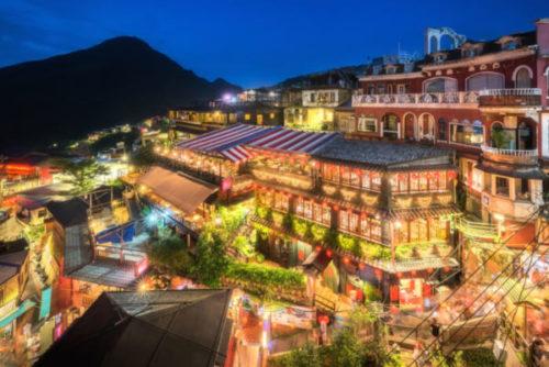 台湾の九份にある「阿妹茶酒館」の夜景